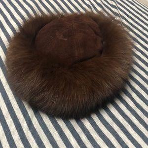 Fox fur and suede vintage hat